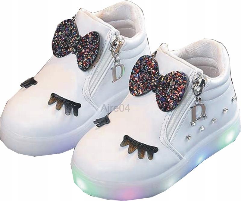 Dziecięce Buty LED Urocze Dziewczęce n Białe 22