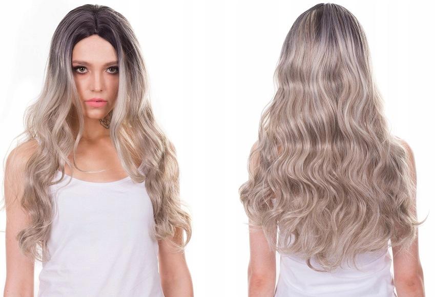 PERUKA ombre SIWY BLOND długie włosy fale