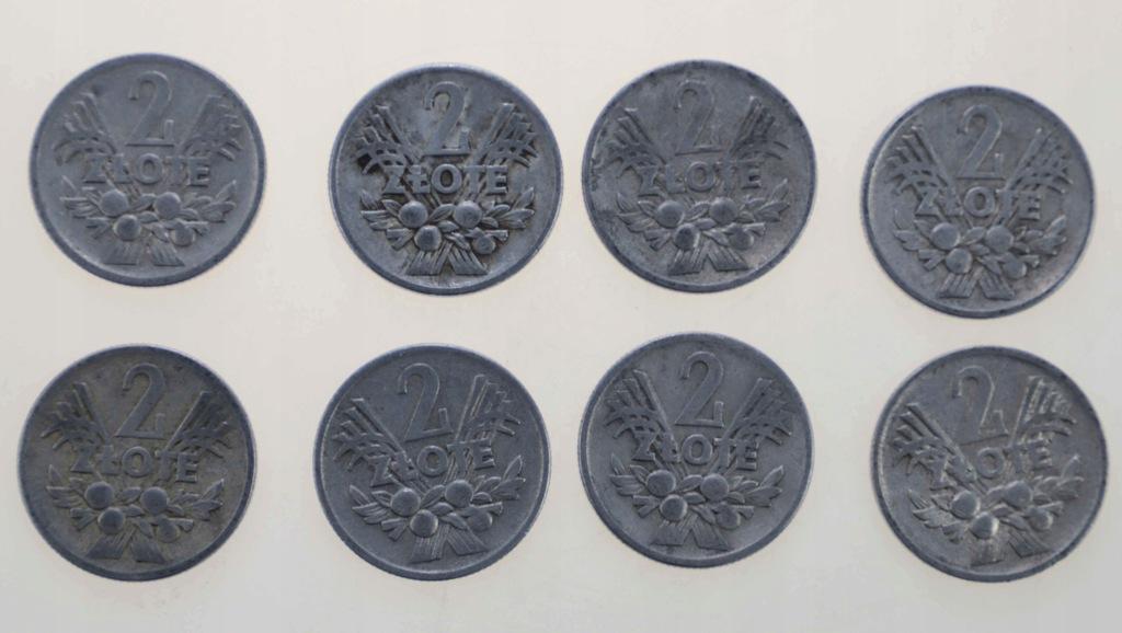 2 zł PRL, 1958-3x, 1960-3x, 1973x1, 1974x1 - 8 szt