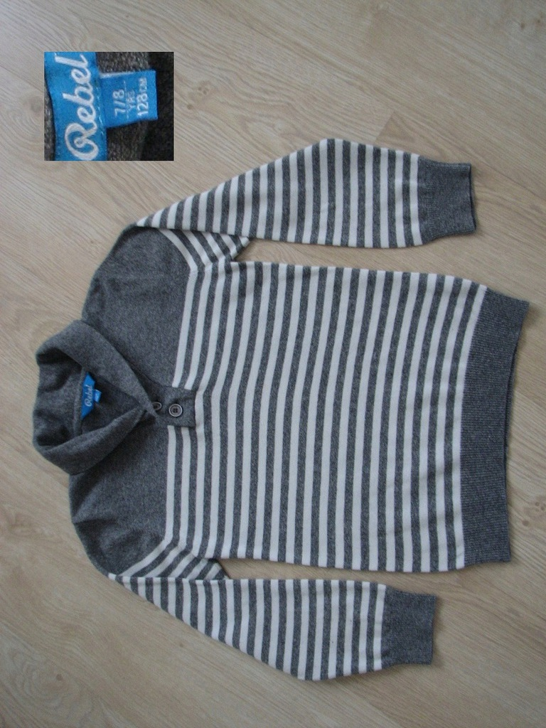 Rebel sweter sweterek dla chłopca 7-8 lat 128 szar