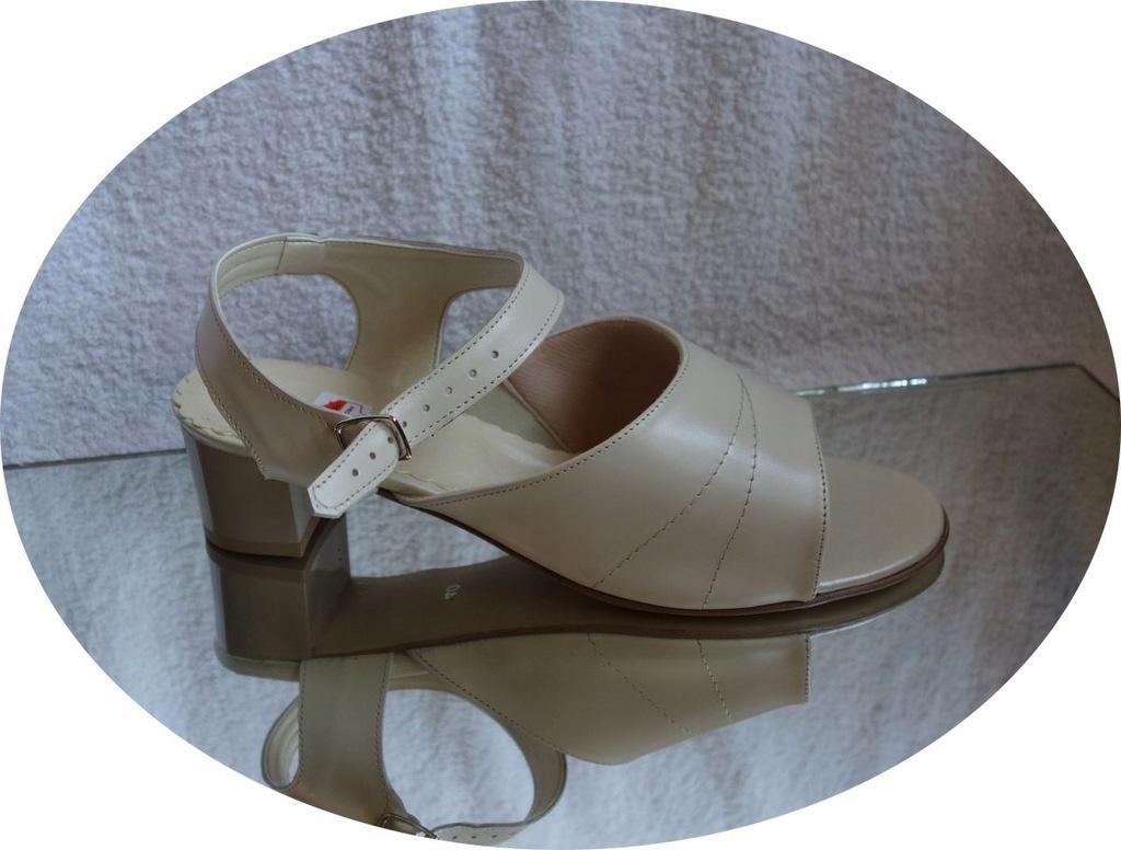 skórzane sandały ecri TĘGOŚC H bardzo szerokie 41