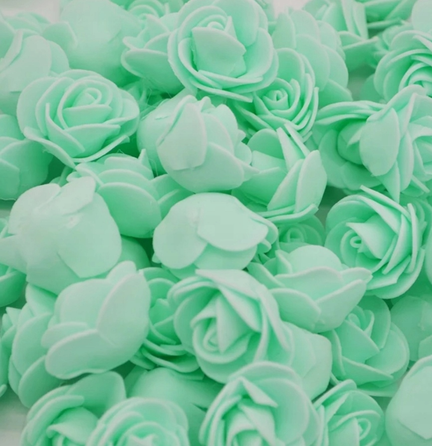 Miętowe Piankowe róże 3 CM różyczki 50 sztuk