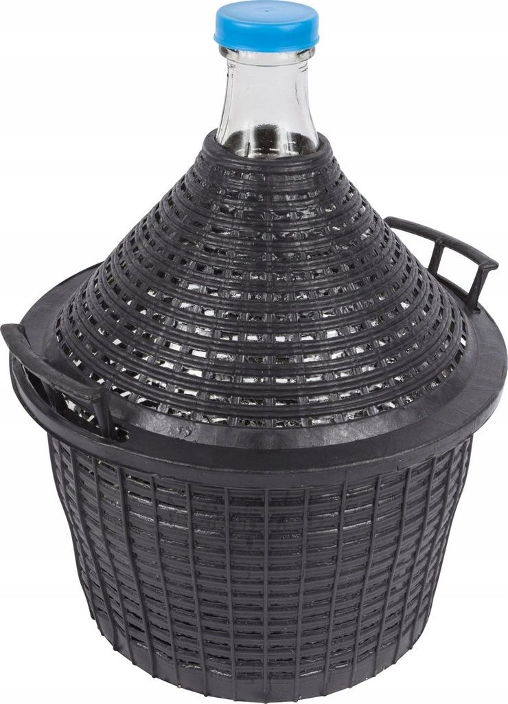 Balon 15L w czarnym koszu plastikowym na WINO