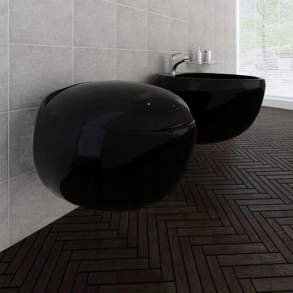 Toaleta podwieszana i bidet, czarna ceramika, zest
