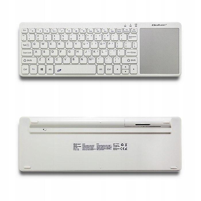 Bezprzewodowa klawiatura Touchpad, 2.4GHz, Biała