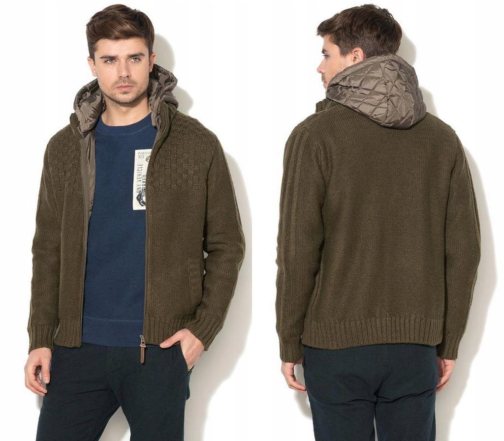 PEPE JEANS Zielony sweter łączone materiały (M)