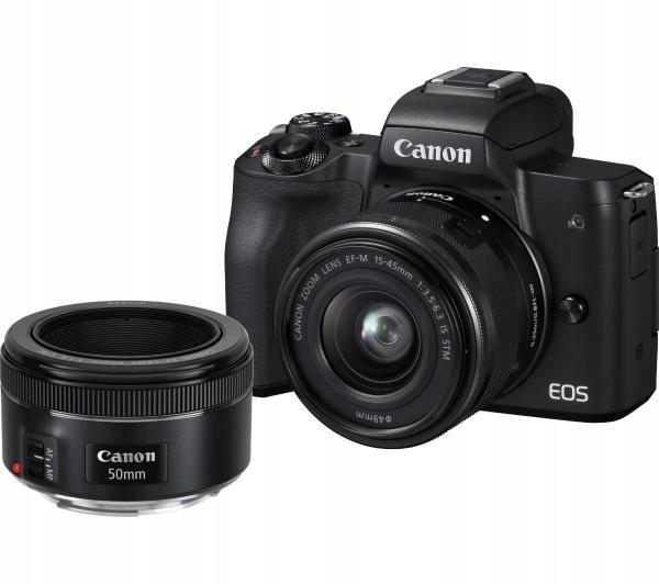 Aparat Canon EOS M50 + 15-45mm + 50mm