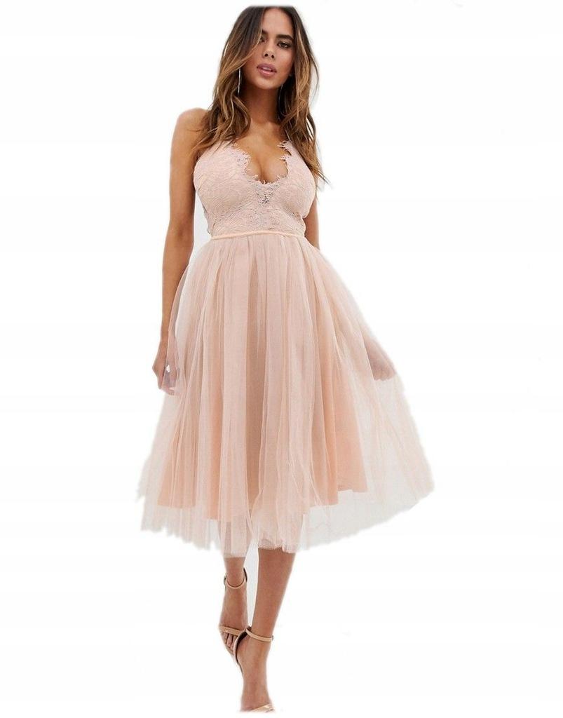 sukienka MIDI tiulowa RÓŻOWA dekolt S 36