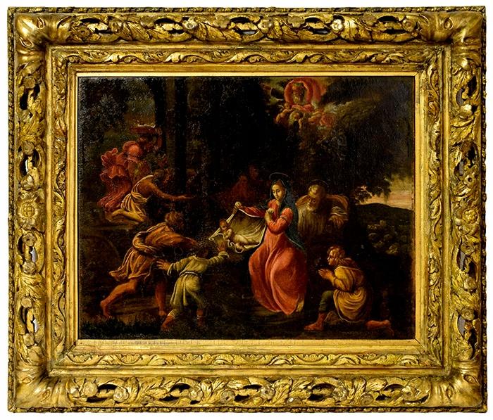 XVI-XVII w.Adoracja pasterzy szkoła włoska 74x62cm