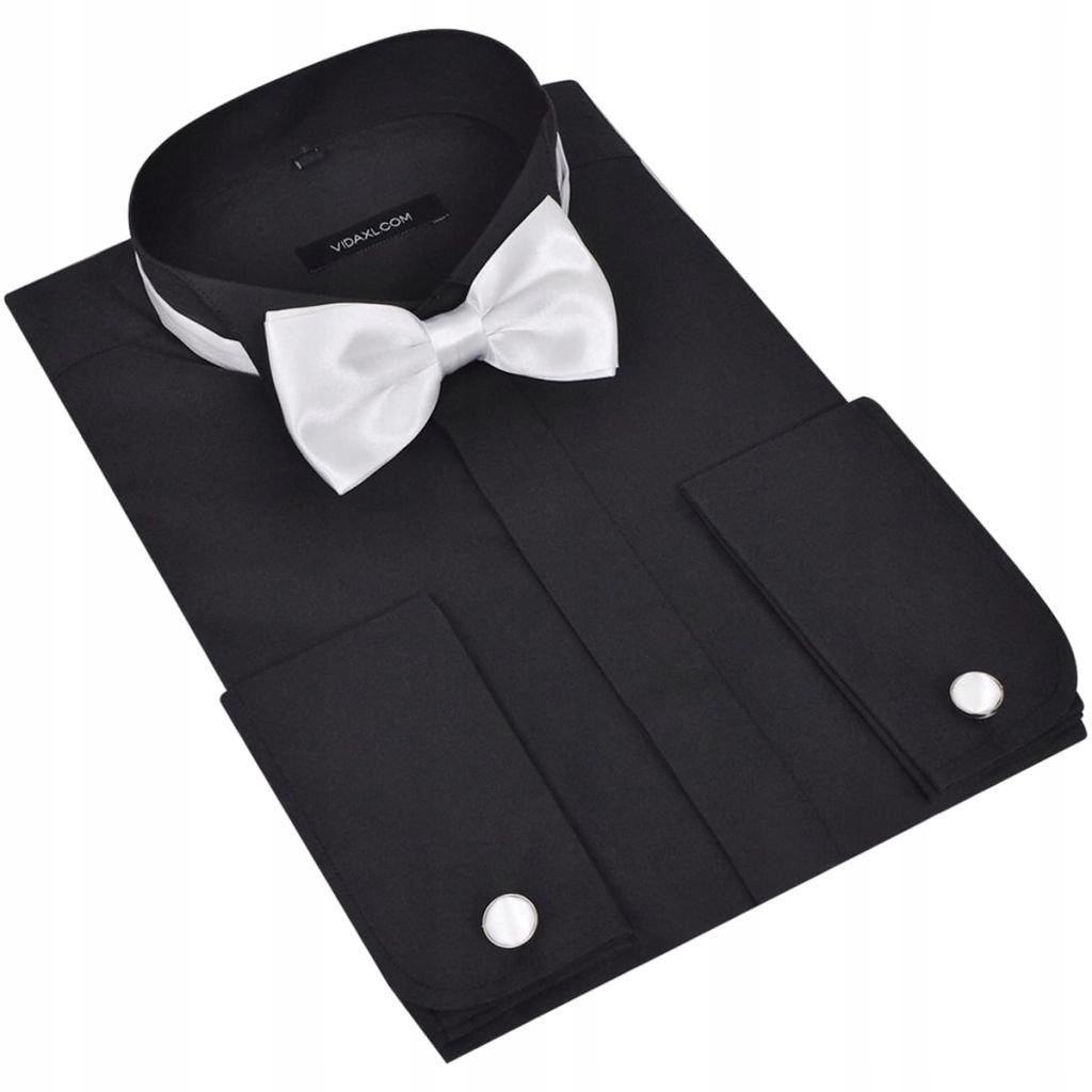 Męska koszula smokingowa ze spinkami do mankietów