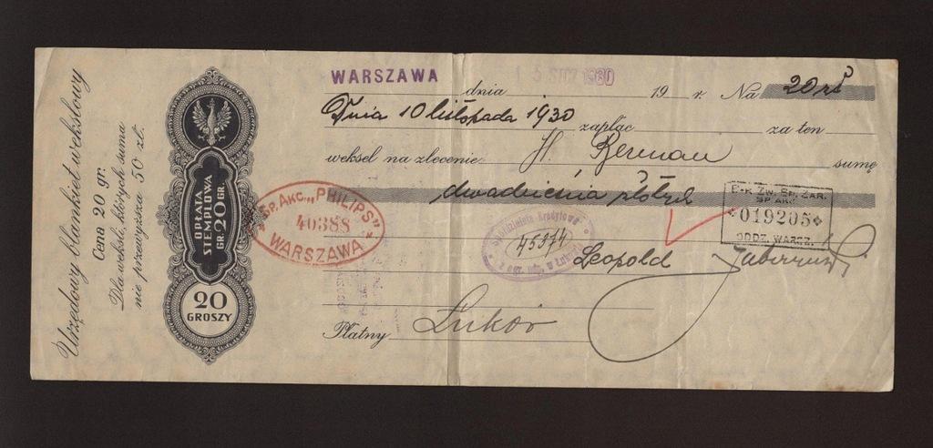 PHILIPS Warszawa 1930 Weksel judaika