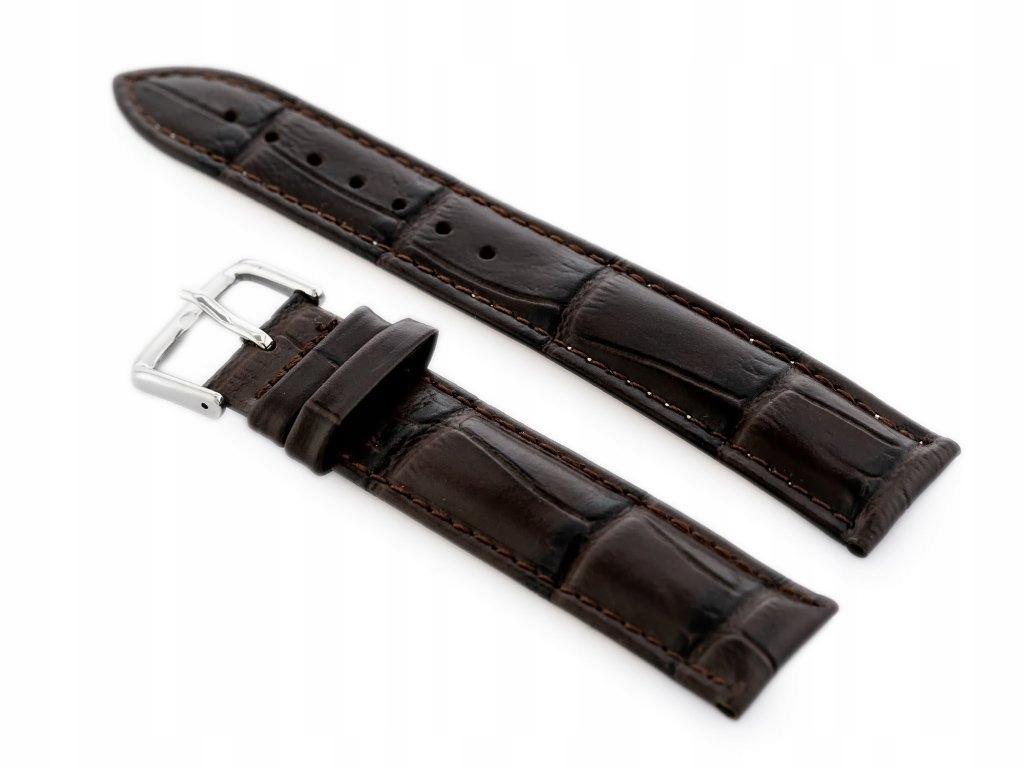 Pasek skórzany do zegarka W102L ciemny brąz - 18mm