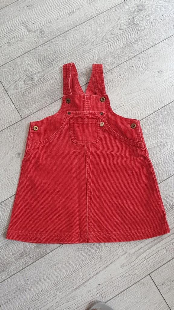 Sukienka czerwona sztruks na 74 cm.