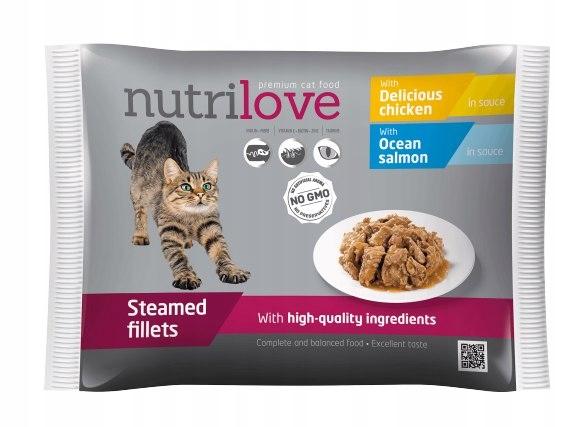 NUTRILOVE Premium mięsne kawałki 2x z łososiem, 2x