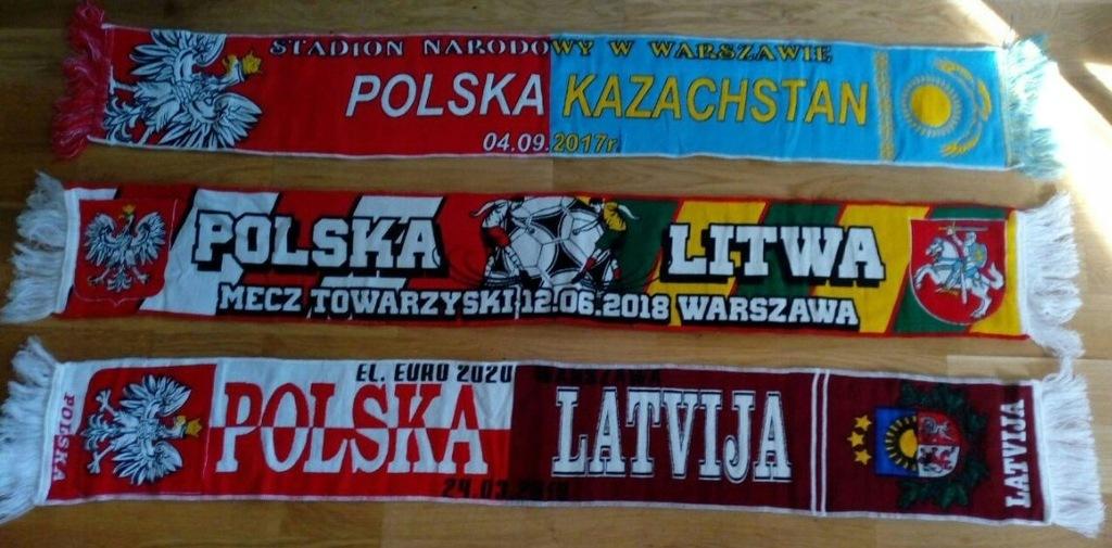 3 szaliki Polska - Kazachstan, Litwa, Łotwa
