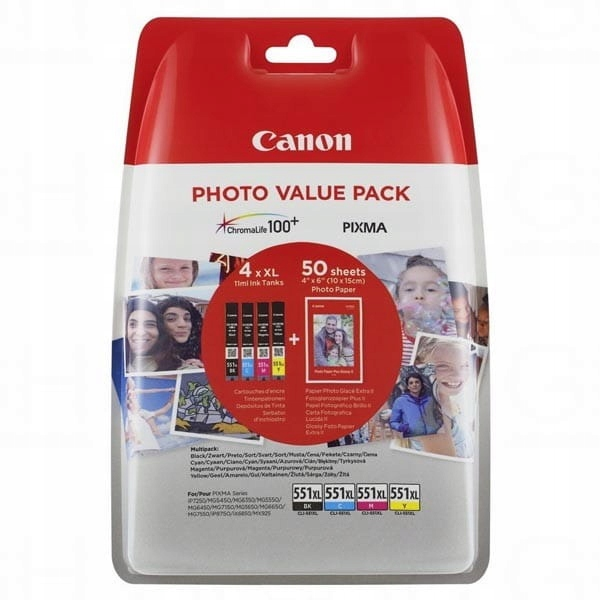 Canon oryginalny ink / tusz CLI-551XL C/M/Y/BK Pho