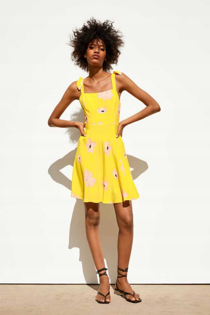 Sukienka ZARA żółta w kwiaty Marcelina Zawadzka M