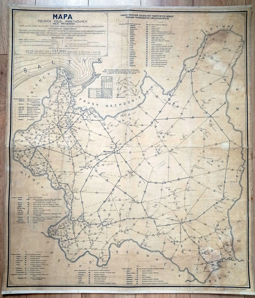 MAPA KOLEJOWA -1938r- wyd. ORBIS /duża 89 x 103/