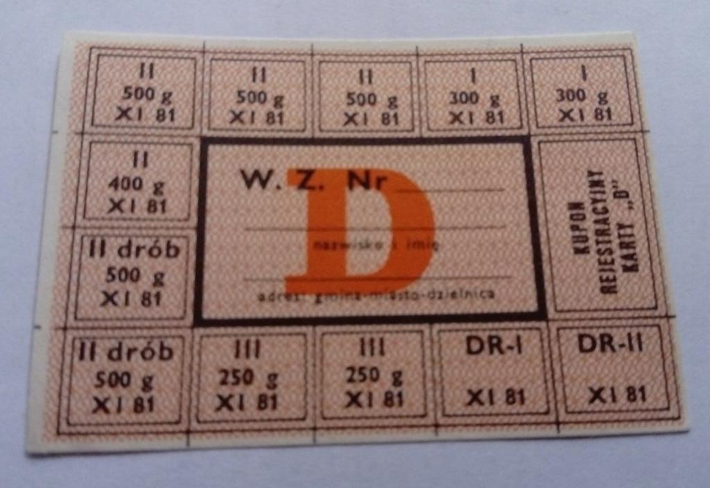 KARTKA ZAOPATRZENIOWA Z PRL - D XI 81