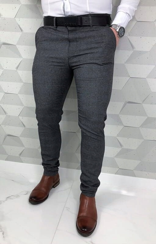 Ciemnoszare eleganckie spodnie meskie w krate 36