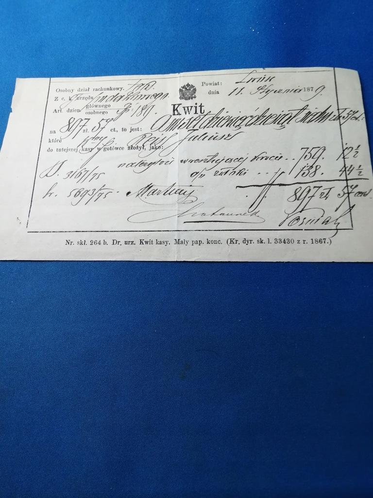 LWÓW 1879- KWIT - ORZEŁ DWUGŁOWY.