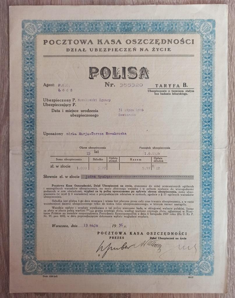 POLISA Pocztowa Kasa Oszczędności 1936r
