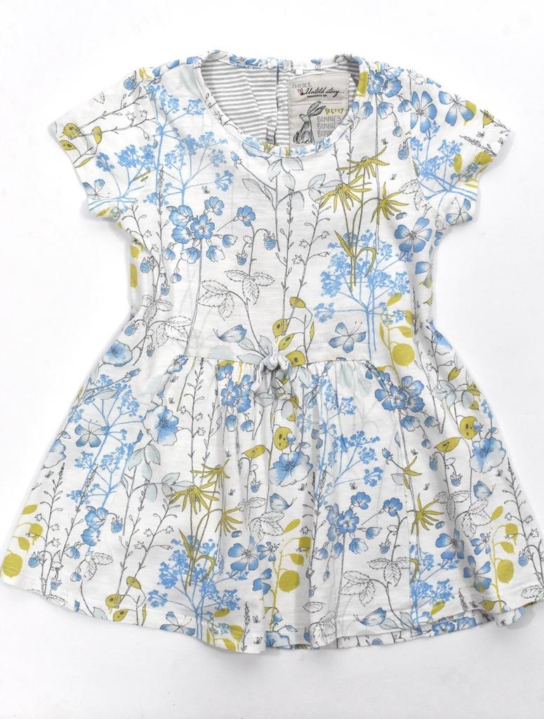 NEXT sukieneczka w kwiatki 98cm biała bawełniana