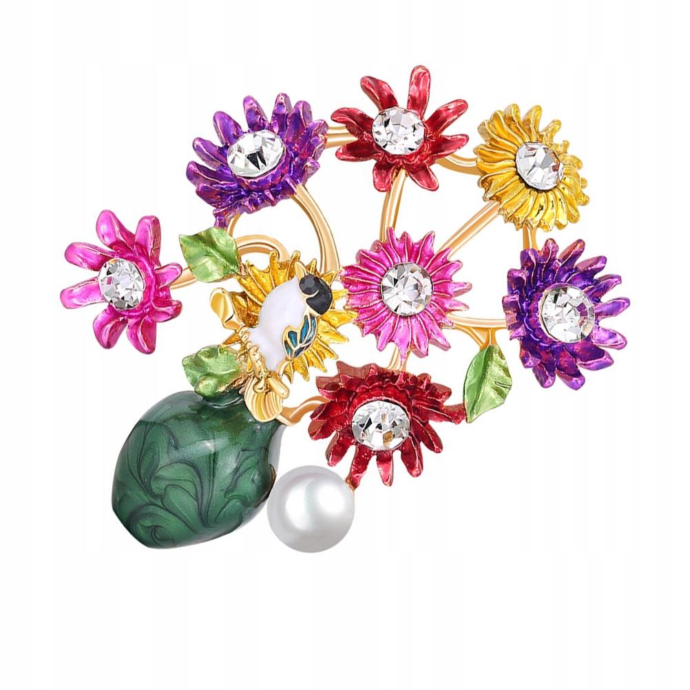 1Pc Delikatna broszka z kwiatem All-match Rhinesto