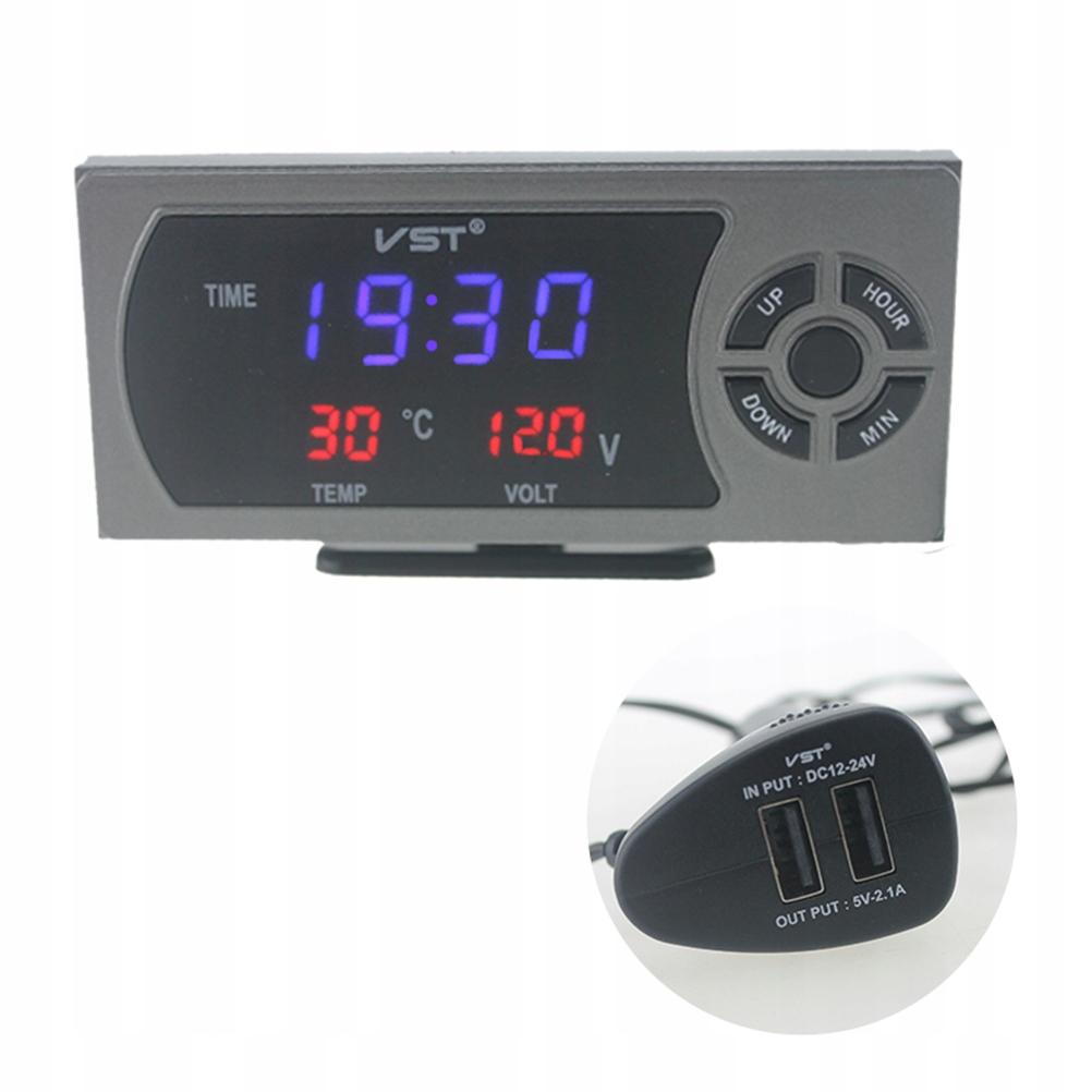 3 w 1 12-24 V samochód LED cyfrowy zegar termometr