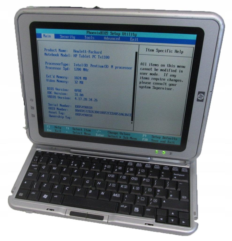 Tablet klaw. HP COMPAQ TC1100 brak hdd _3359