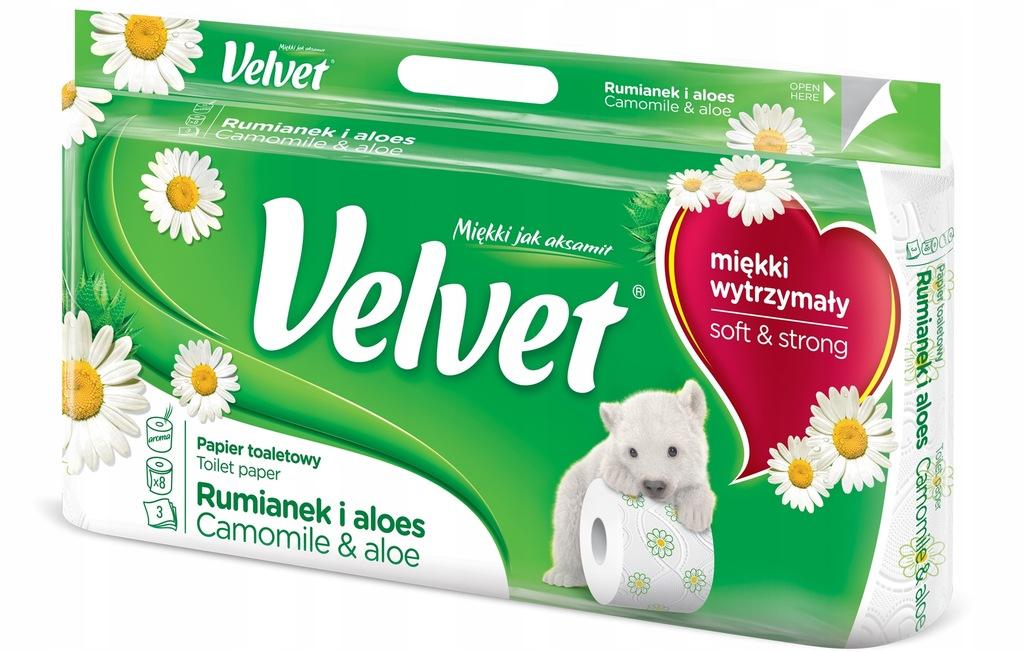 Papier toaletowy Velvet - biały rumianek - 8 rolek