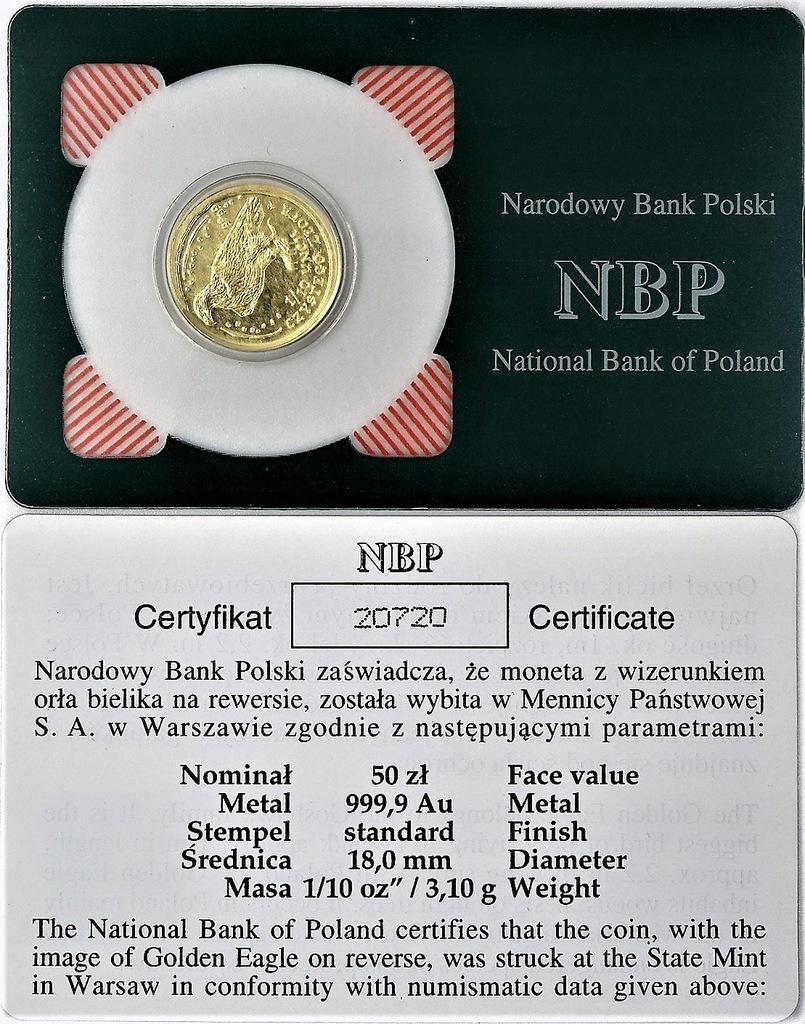 50 zł 2009 Bielik 1/10 Oz. Au 999 - NBP