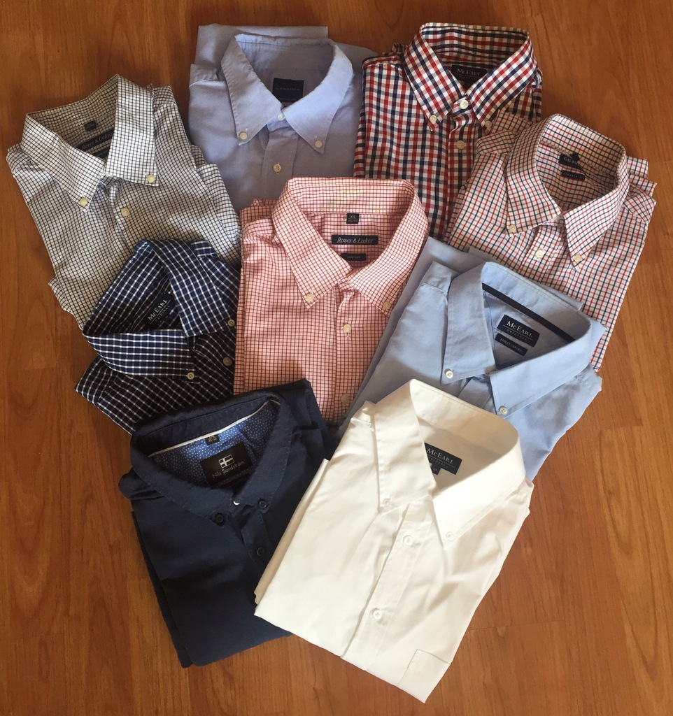 Spodnie, koszule, polo, swetry
