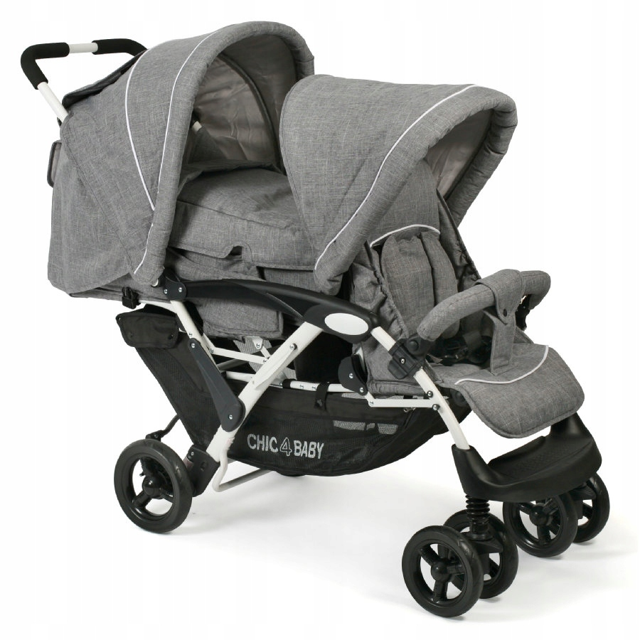 Wózek dla rodzeństwa CHIC 4 BABY DUO Melange grey