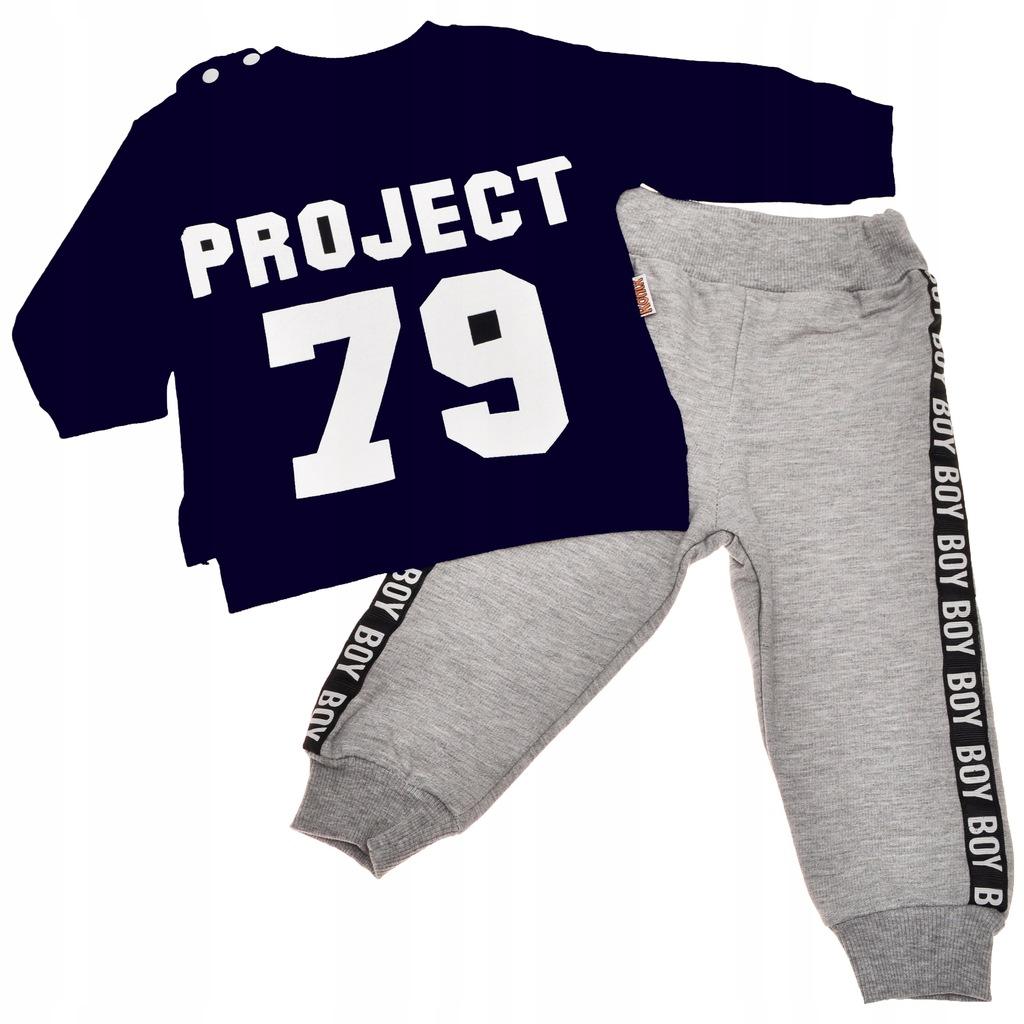 DRES spodnie, granatowa bluza napis r.80 komplet