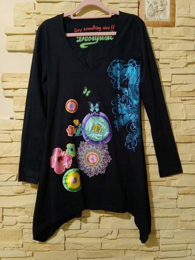 ATO* DESIGUAL 36/38 TUNIK LONG T_shirt NAVY