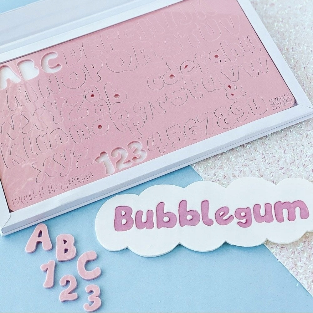 Stemple alfabet, litery duże i małe, cyfry - BUBBL