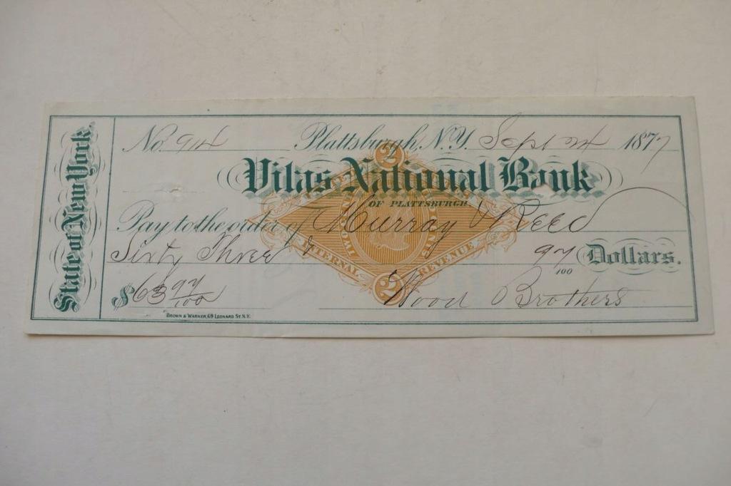 czek bankowy Nowy Jork 1877