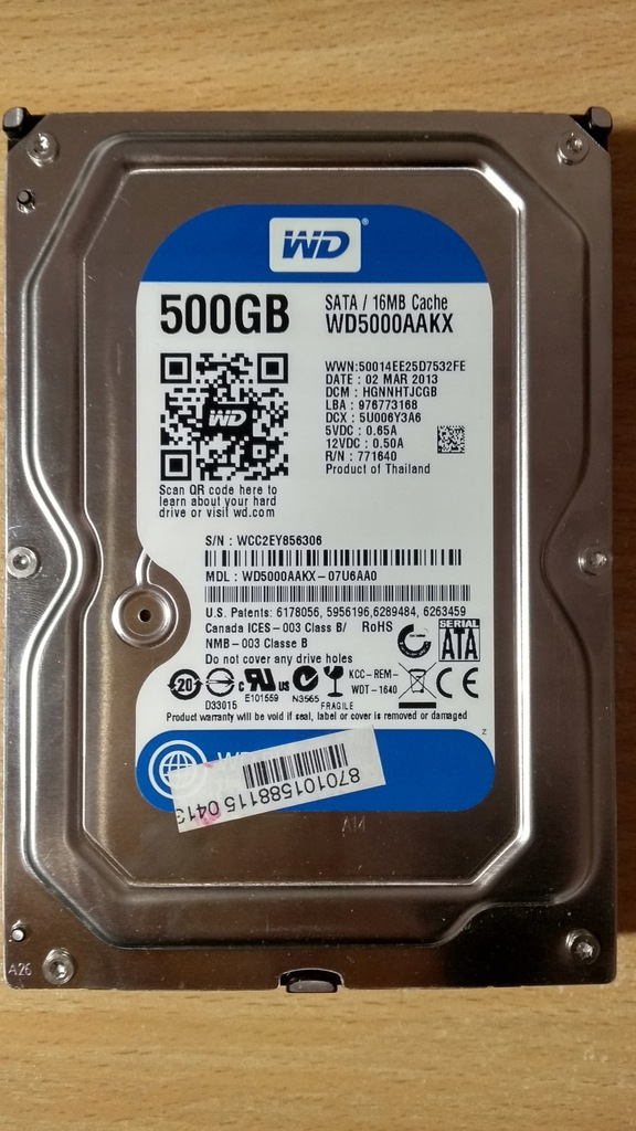 WD Caviar Blue 500 GB mało używany