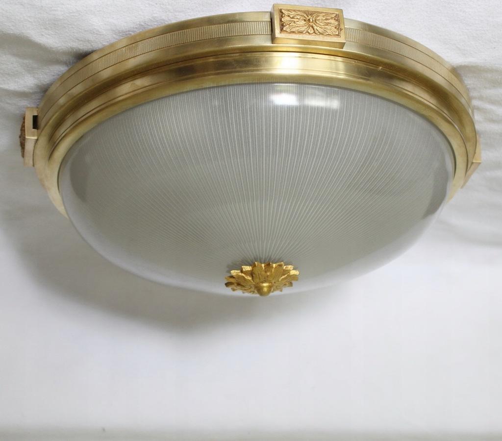 Lampa sufitowa plafon mosiądz oryginalny klosz