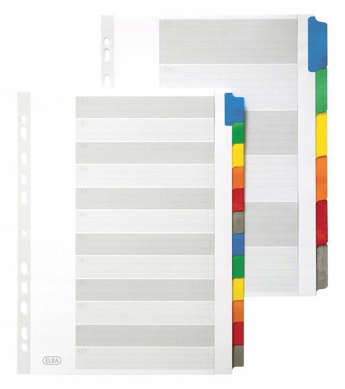 Przekładki kartonowe Elba A4 mylar, kolorowe, 6 ka