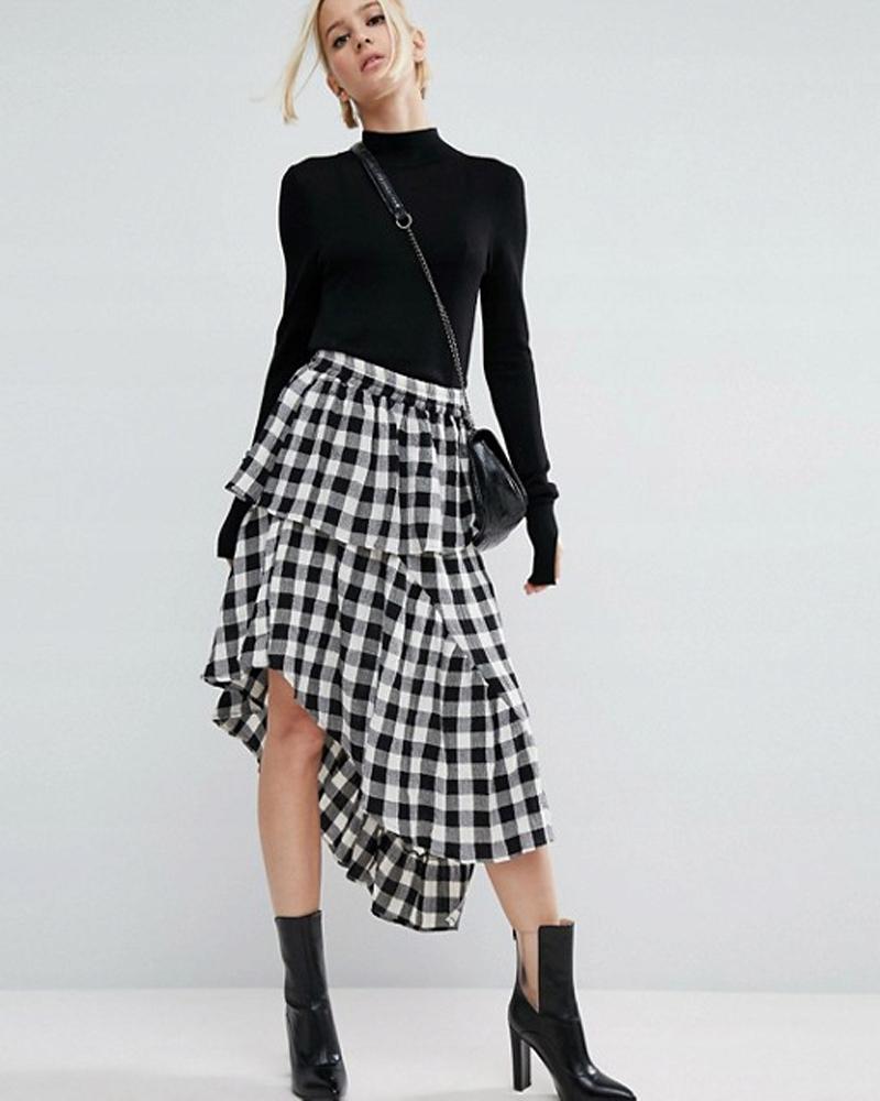 spódnica w kratkę blogerska modna kratka asymetria