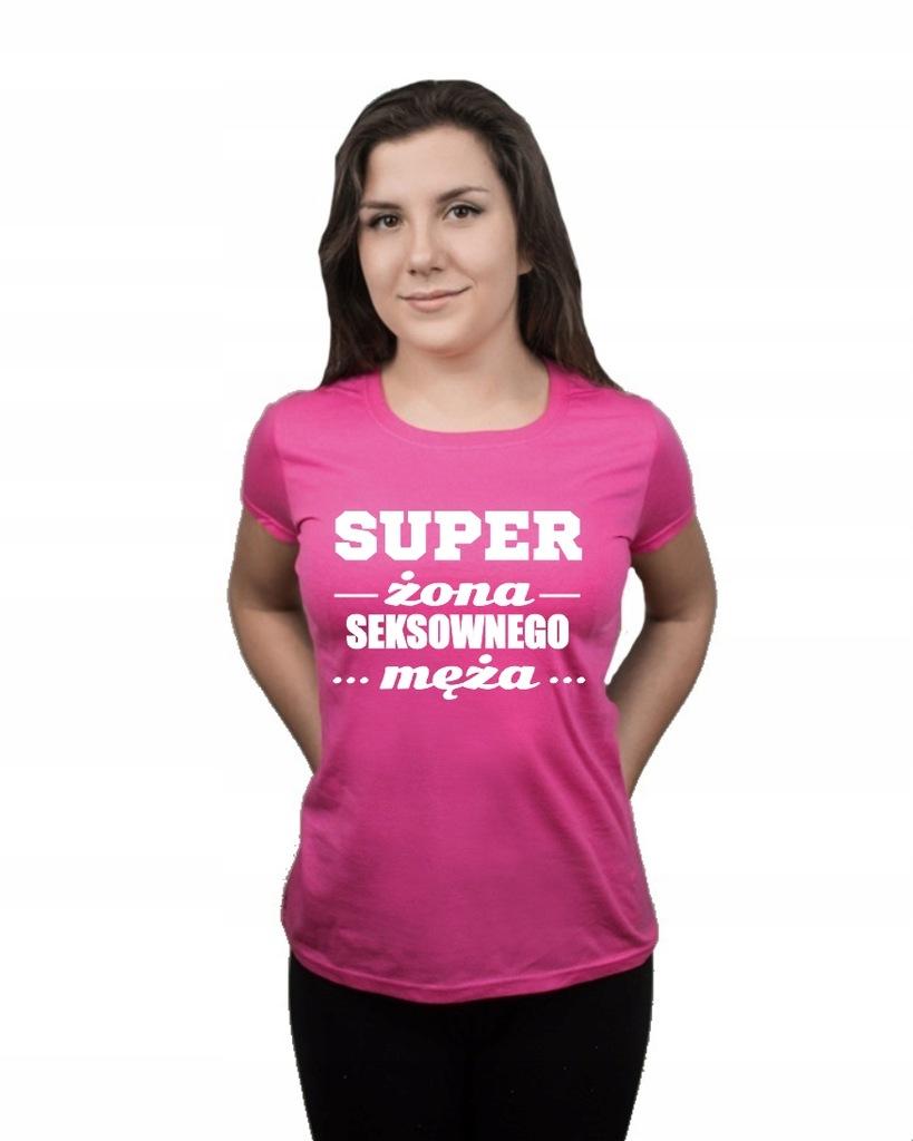 Koszulka damska SUPER ŻONA SEXOWNEGO MĘŻA L
