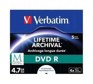 Verbatim M-DISC DVD R 4x 4.7GB 5P JC Printable