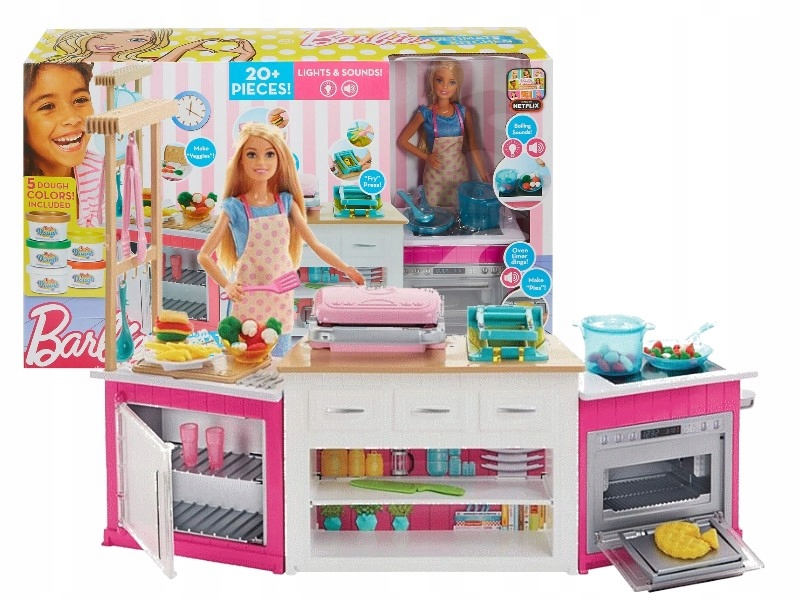 Lalka Barbie Zestaw Idealna Kuchnia Lalka Frh73 9345518952 Oficjalne Archiwum Allegro