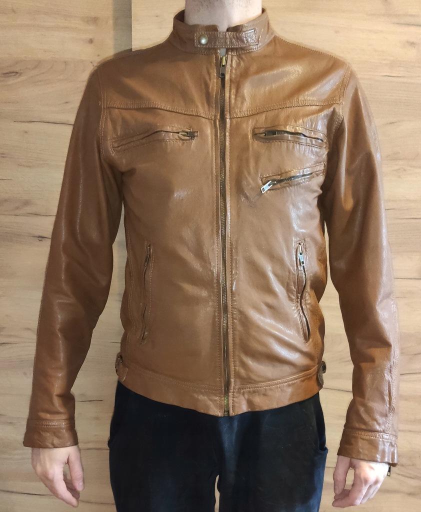 Jack&Jones vintage kurtka skórzana brązowa