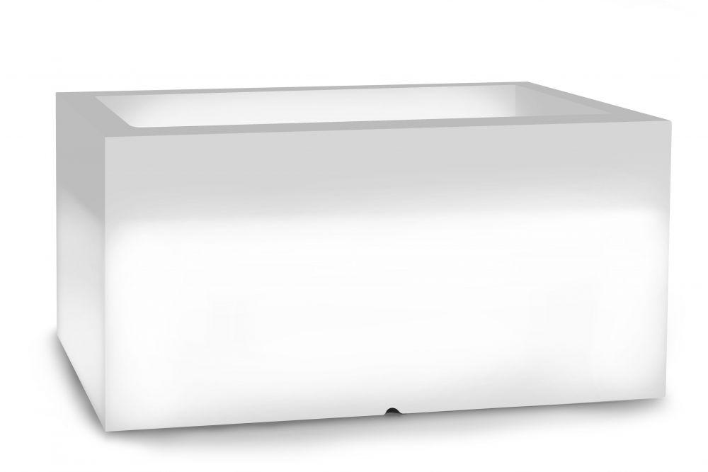 Biała donica Lungo z oświetleniem
