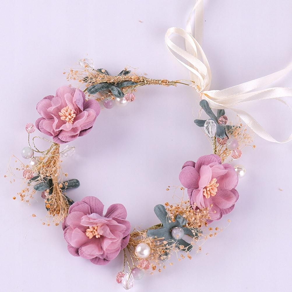 Pink Handcraft Headpiece Bridal Head Band Artifici
