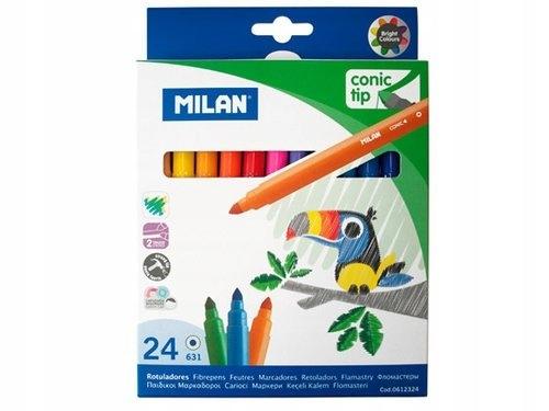 Flamastry Milan 24 kolory ze stożkową końcówką