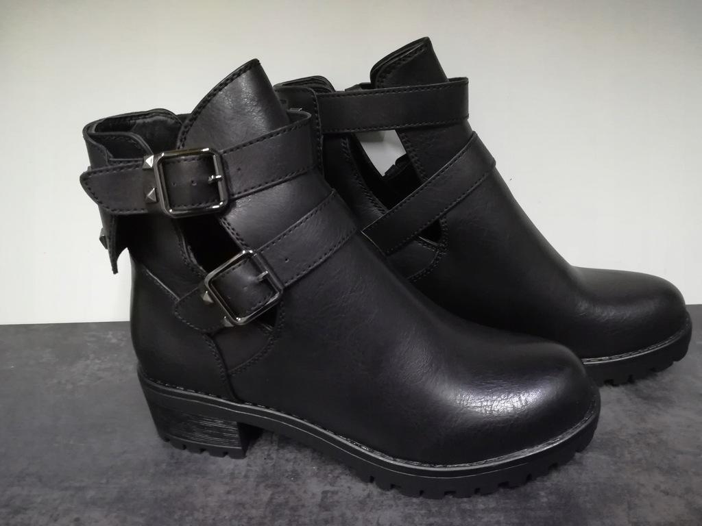 Czarne botki damskie buty z wycięciem pasek 40 kup online